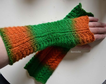 Knitted armwarmers/ gloves, green orange, H818