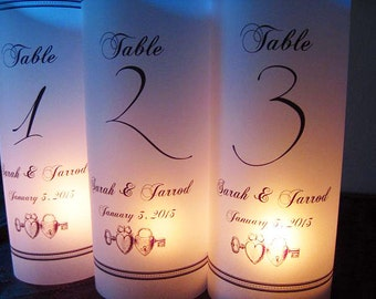 Table Number Luminaries Personalized Keys Set of 12