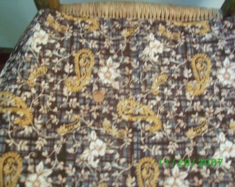 Vintage Cotton Fabric Harvest Theme of Blues , Golds & Mullberry on Cream
