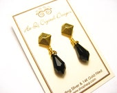 Black Teardrop and Gold Geometric Studs