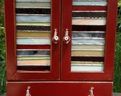 Beautiful Red Jewelry box with Stained Glass Panels