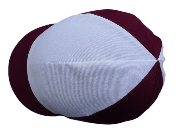 Burgundy and White Cycling Cap - Classic Harlequin Style