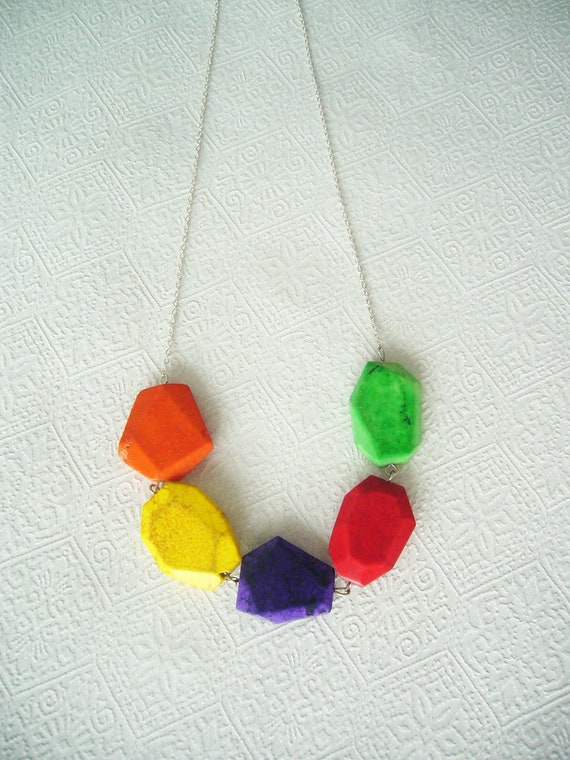 Colourful geometric necklace with gems