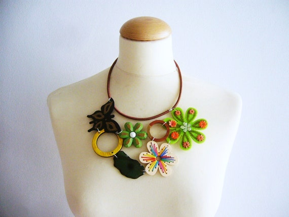 Fun statement necklace with flowers and a butterfly
