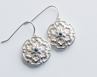 Silver Cabochon Earrings With Blue Lab Sapphires Drop Dangle Floral Style