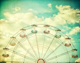 Ferris wheel photography nursery art, Travel Photo, Jersey Shore boardwalk, turquoise sky, spring, teal decor, art for kids room