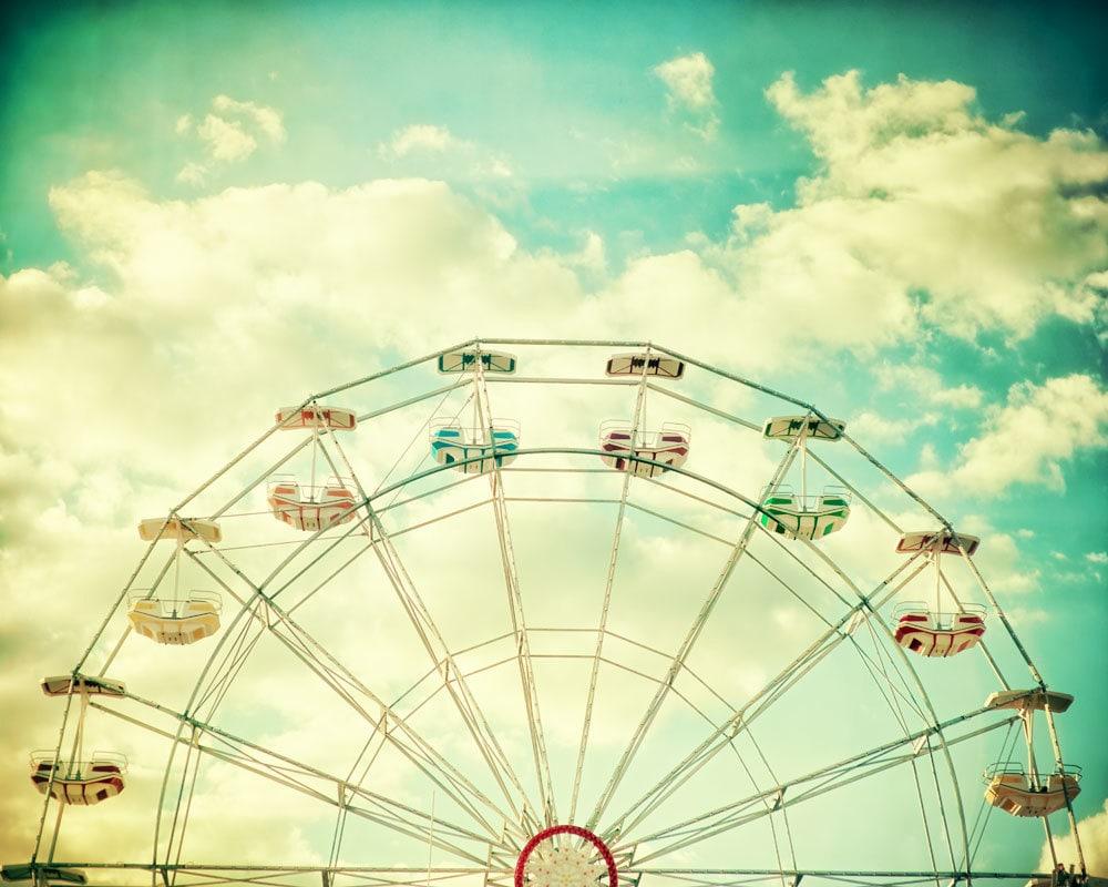 Nursery art ferris wheel photography carnival photo golden