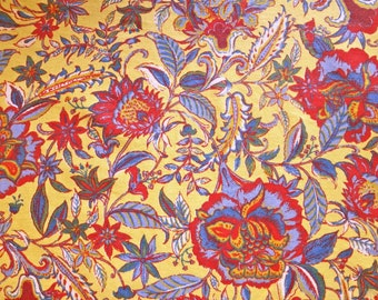 Yellow Cotton Fabric with Indian Floral Design - Better Homes and Gardens Fabrics