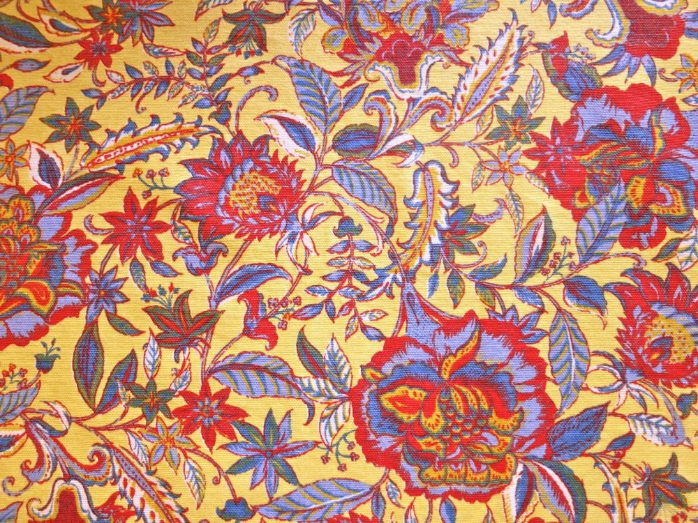 Yellow Cotton Fabric With Indian Floral Design Better