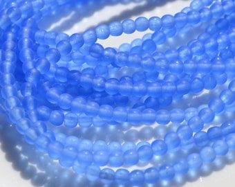 Matte Sapphire Blue 4mm Round Czech Glass Beads  100