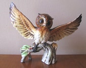 Vintage 1960's Ceramic Open Winged Owl Figurine
