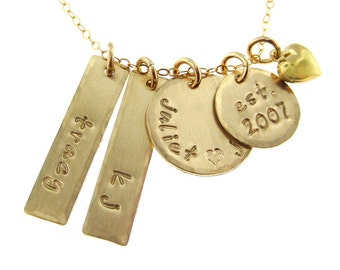 My Family - Four or Five Name Hand Stamped 14k Gold filled Necklace