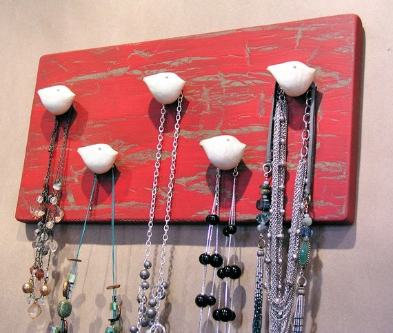 Christams gift ... Jewelry Wall Hooks Necklace and Scarf Organizer ... Handmade bird rack to hold all of your scarves, necklaces