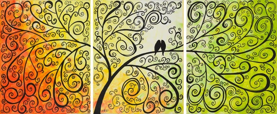 "48"" Love Birds painting wall decor wall hangings home office wall art ""Love and Romance III"" by qiqigallery"