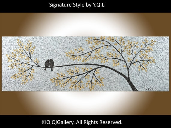 "Landscape Painting Abstract Original Modern Heavy Texture Metallic Gold  Silver Love Birds Wall Décor ""The Promise"" by QIQIGALLERY"