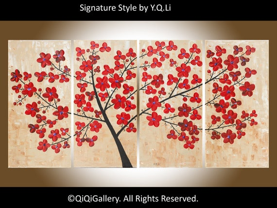 """Original Modern Abstract Heavy Texture Impasto Palette Knife Flower Tree Landscape """"The Passion of Love"""" by QIQIGALLERY"""