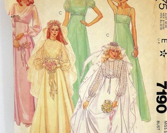 Vintage 80's Sewing Pattern, Bridal Gown, Size 12, Bridesmaid Dress, Garden Wedding