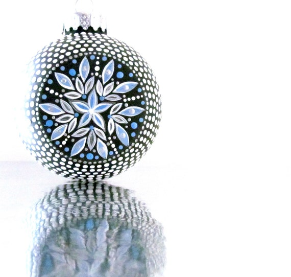 Snowflake: Blue and white Hollow Glass Christmas Ornament Hand Painted
