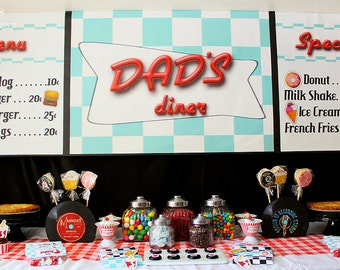 8ft x 2.5 ft Vinyl Personalized Diner Menu Banner Backdrop