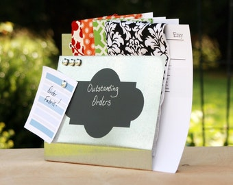 Galvanized Steel Large Wall Pocket with Chalkboard label, Magnet Board, File and Mail Holder