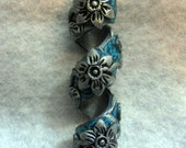 Dread Bead Silver Flowers on Faux Turquoise Coil You Choose Hole Size