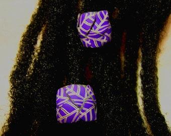 Dread Beads Purple Leaves Set of 2   You Choose Hole Size