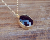 yeahhello. gold midnight black drop of light necklace