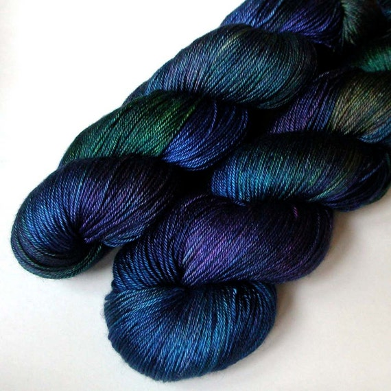 Cashmere and Silk Fingering Yarn - Royal Plumage, 420 yards, FREE SHIPPING