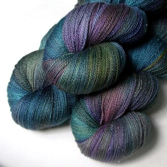 Glimmer Lace SW Merino and Silk Yarn - Mermaid, 870 yards