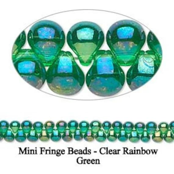Clear Green Rainbow Mini Fringe Beads Glass 3.3x2.8mm 5 grams