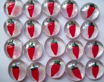 Hand painted glass gems party favors  art red  CHILI PEPPERS  chilli peppers pepper