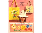 Vintage 1960s Sewing Pattern Hat Purse Tote Bag Rick Rack Applique Embroidery Craft Wide Brim Sunhat Pattern 60s Uncut Simplicity 6430