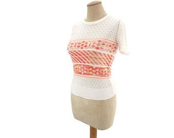 Vintage 70s Sweater White Pointelle Lace Yellow Orange Space Dyed XS