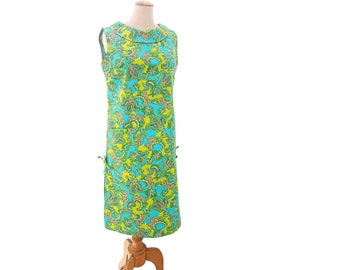 Vintage Shift Dress 60s Paisley Print Blue Green Pink NWT Unworn Sleeveless Dress size Large NOS Roll Collar Dress Deadstock Shift Dress