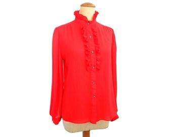 80s Vintage Ruffle Blouse Red High Neck Puff Sleeve 1980s Blouse Semi Sheer Rhinestone Buttons Long Sleeve Tuxedo Blouse size Medium Large