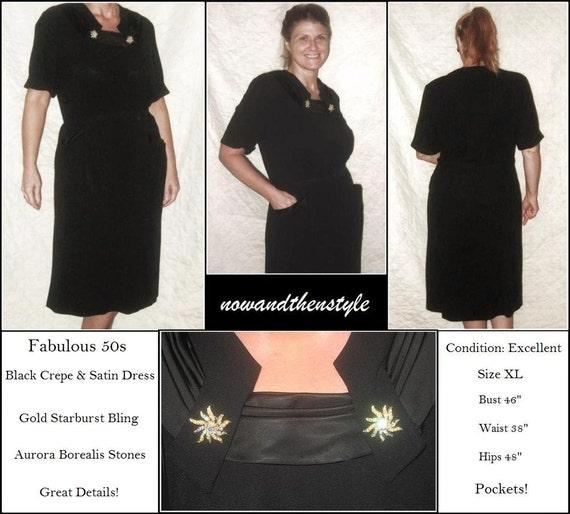 Vintage 1950s Black Crepe Dress  Satin and Rhinestone Accents  Hip Pockets  sz XL