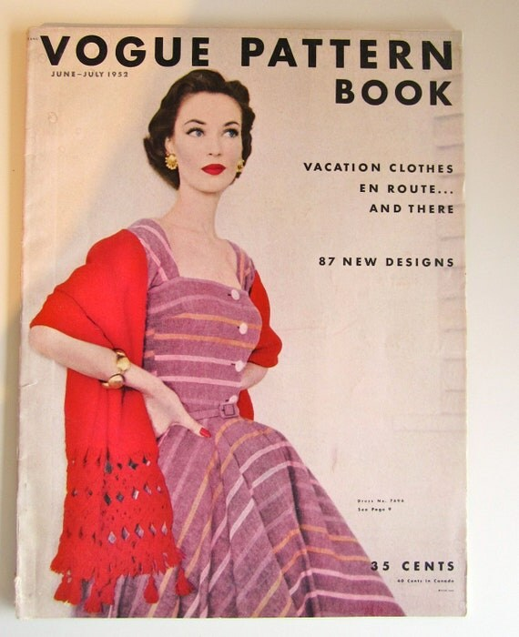 Vintage Sewing Magazine Vogue Pattern Book June July 1952