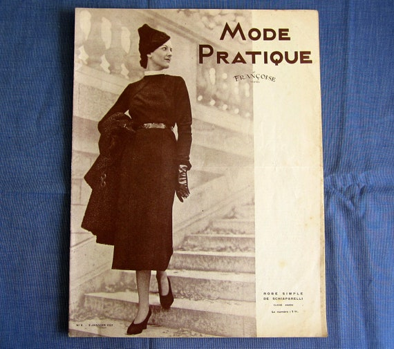 Vintage French Magazine Mode Pratique January 1937 Fashion Sewing and Knitting