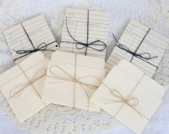 Blank Cream Library Cards and Card Pockets