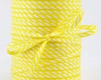 CLEARANCE Solid/Diagonal Striped Ribbon - Yellow and White - 3 yd bundle