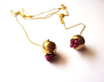Pomegranate Necklace Gold plated with long wrap around chain.
