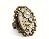Dystopian Steampunk Watch Movement Ring with a Gorgeous Antiqued Brass Filigree