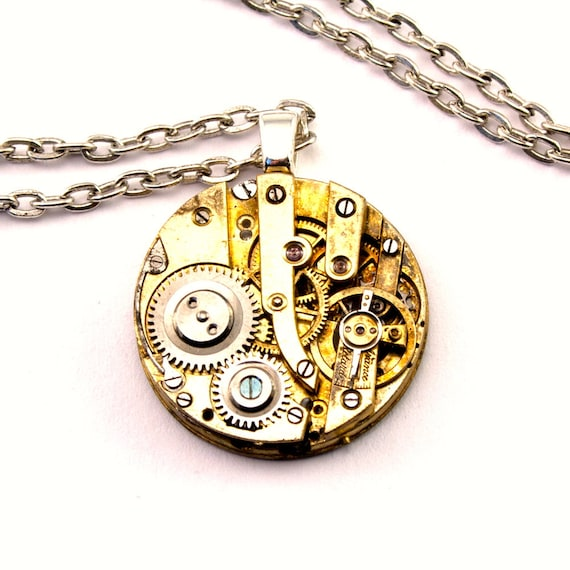Steampunk Necklace - Stunning Golden toned Clockwork Pendant Design - PROMPTLY SHIPPED - Steampunk Jewelry By London Particulars