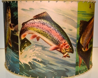 Retro TROUT FISHING Lamp Shade 12 x 12