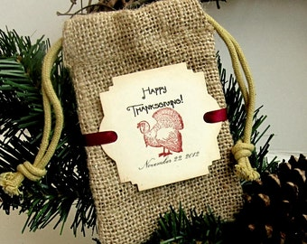 Burlap favor bags - Thanksgiving favor bags - Turkey - Hand stamped
