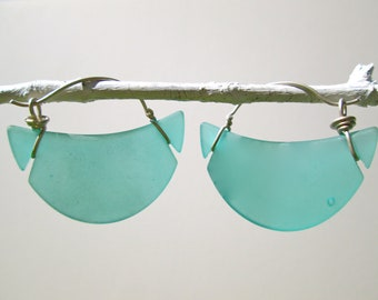 teal seaglass crescent hoop earrings