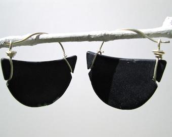 black seaglass-like crescent hoop earrings