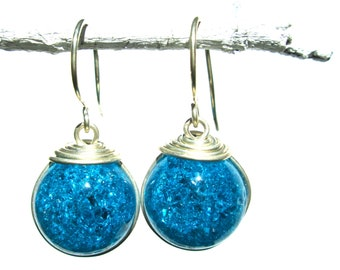 Turquoise Fried Marble Earrings with Silver