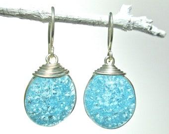 Sky Blue Fried Glass Earrings with Silver