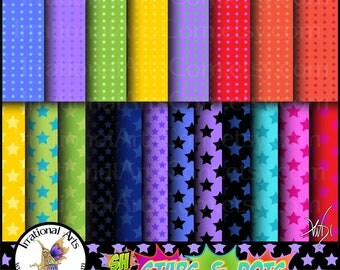 Super Hero Stars & Dots Set 1 - 20 digital papers {Instant Download}